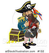 Vector Illustration of a Pirate Captain Standing by a Treasure Chest and Talking to the Bird on His Shoulder by AtStockIllustration