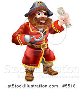 Vector Illustration of a Pirate Captain with a Hook Hand and Treasure Map by AtStockIllustration