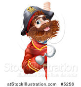 Vector Illustration of a Pirate Captain with a Hook Hand, Looking Around a Sign by AtStockIllustration