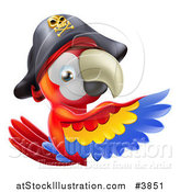 Vector Illustration of a Pirate Macaw Parrot Presenting a Sign by AtStockIllustration
