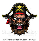 Vector Illustration of a Pirate Mascot Face with an Eye Patch and Captain Hat by AtStockIllustration