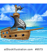 Vector Illustration of a Pirate Ship Flying the Jolly Roger Flag in a Beautiful Blue Sea at Sunrise by AtStockIllustration