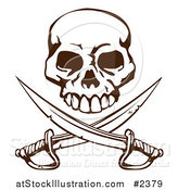 Vector Illustration of a Pirate Skull over Crossed Swords by AtStockIllustration