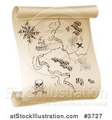 Vector Illustration of a Pirate Treasure Map on a Scroll by AtStockIllustration