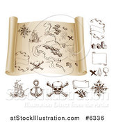 Vector Illustration of a Pirate Treasure Map Scroll and Design Elements by AtStockIllustration