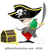 Vector Illustration of a Pirate with a Sword, Parrot and Treasure Chest by AtStockIllustration