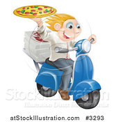Vector Illustration of a Pizza Delivery Chef Holding up a Pie on a Fast Scooter by AtStockIllustration