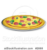 Vector Illustration of a Pizza Pie Topped with Pepperoni Basil and Olives by AtStockIllustration