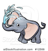 Vector Illustration of a Playful Baby Elephant Spraying Water by AtStockIllustration
