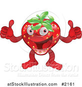 Vector Illustration of a Pleadsed Strawberry Character Holding Two Thumbs up by AtStockIllustration