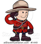 Vector Illustration of a Pleasant and Friendly Mounty in a Red Unicorm, Holding His Arm up and Smiling by AtStockIllustration