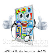 Vector Illustration of a Pleased Cell Phone Mascot Holding Two Thumbs up and Wearing a Stethoscope by AtStockIllustration
