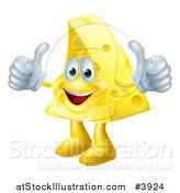 Vector Illustration of a Pleased Cheese Mascot Holding Two Thumbs up by AtStockIllustration