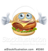 Vector Illustration of a Pleased Cheeseburger Holding Two Thumbs up by AtStockIllustration