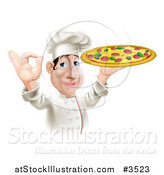 Vector Illustration of a Pleased Chef Gesturing Ok and Holding a Pizza by AtStockIllustration