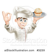 Vector Illustration of a Pleased Chef Gesturing Ok and Holding a Platter with a Cupcake by AtStockIllustration