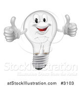 Vector Illustration of a Pleased Clear Lightbulb Mascot Holding Two Thumbs up by AtStockIllustration