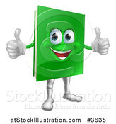 Vector Illustration of a Pleased Green Book Mascot Holding Two Thumbs up by AtStockIllustration