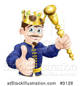 Vector Illustration of a Pleased King Holding a Sceptre and Thumb up by AtStockIllustration