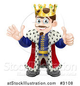 Vector Illustration of a Pleased King Holding a Thumb up and Waving by AtStockIllustration