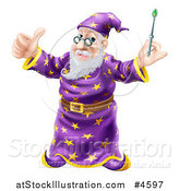 Vector Illustration of a Pleased Old Wizard Holding a Thumb up and Magic Wand by AtStockIllustration