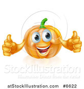 Vector Illustration of a Pleased Pumpkin Character Giving Two Thumbs up by AtStockIllustration
