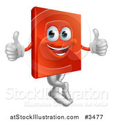 Vector Illustration of a Pleased Red Book Mascot Holding Two Thumbs up by AtStockIllustration