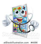 Vector Illustration of a Pleased Smart Phone Holding a Thumb up and a Stethoscope by AtStockIllustration