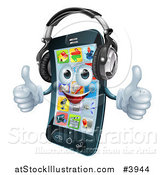 Vector Illustration of a Pleased Smart Phone Holding Two Thumbs up and Wearing Headphones by AtStockIllustration