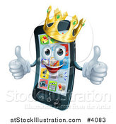 Vector Illustration of a Pleased Smart Phone Mascot Wearing a Crown and Holding Two Thumbs up by AtStockIllustration