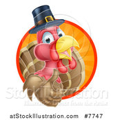 Vector Illustration of a Pleased Thanksgiving Turkey Bird Wearing a Pilgrim Hat and Giving a Thumb up and Emerging from a Circle of Rays by AtStockIllustration