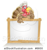 Vector Illustration of a Pleased Turkey Bird Chef Giving a Thumb up over a Blank White Sign by AtStockIllustration