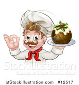 Vector Illustration of a Pleased White Male Chef Gesturing Okay While Presenting Christmas Pudding by AtStockIllustration