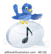 Vector Illustration of a Pointing Bluebird on a Music Note Speech Balloon by AtStockIllustration