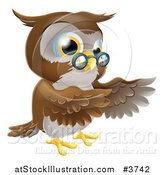 Vector Illustration of a Pointing Owl with Spectacles by AtStockIllustration