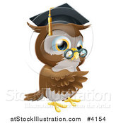 Vector Illustration of a Pointing Professor Owl with Glasses and Graduation Cap by AtStockIllustration