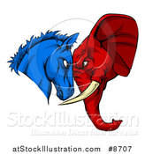 Vector Illustration of a Political Aggressive Democratic Donkey or Horse and Republican Elephant Butting Heads by AtStockIllustration