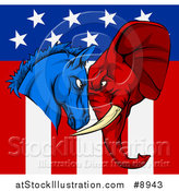 Vector Illustration of a Political Aggressive Democratic Donkey or Horse and Republican Elephant Butting Heads over an American Flag by AtStockIllustration