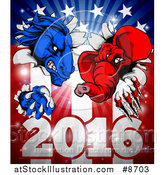 Vector Illustration of a Political Aggressive Democratic Donkey or Horse and Republican Elephant Clawing Through an American Flag over 2016 by AtStockIllustration