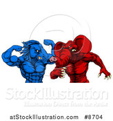 Vector Illustration of a Political Aggressive Democratic Donkey or Horse and Republican Elephant Fighting by AtStockIllustration