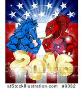 Vector Illustration of a Political Aggressive Democratic Donkey or Horse and Republican Elephant Flexing over a 2016 American Flag and Burst by AtStockIllustration