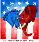 Vector Illustration of a Political Democratic Donkey and Republican Elephant Elephant Butting Heads over an American Themed Flag by AtStockIllustration