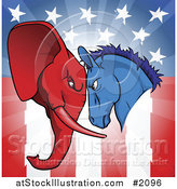 Vector Illustration of a Political Donkey and Elephant Facing off over an American Flag by AtStockIllustration