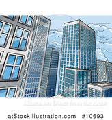 Vector Illustration of a Pop Art Comic Book Styled Scene of City Skyscraper Buildings by AtStockIllustration