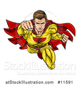 Vector Illustration of a Pop Art Comic Caucaslan Male Super Hero Flying Forward by AtStockIllustration
