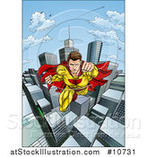 Vector Illustration of a Pop Art Comic Caucaslan Male Super Hero Flying Forward over a City by AtStockIllustration