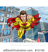 Vector Illustration of a Pop Art Comic Male Super Hero Flying Forward over a City by AtStockIllustration