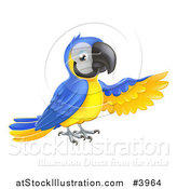 Vector Illustration of a Presenting Blue and Yellow Macaw Parrot by AtStockIllustration