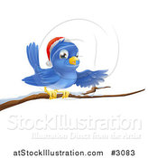 Vector Illustration of a Presenting Christmas Bluebird Wearing a Santa Hat and Perched on a Branch with Snow by AtStockIllustration