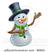 Vector Illustration of a Presenting Christmas Snowman Wearing a Green Scarf and a Top Hat by AtStockIllustration